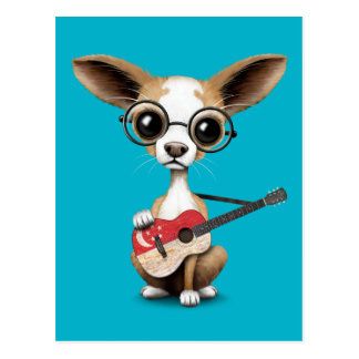 Chihuahua Puppy Dog Playing Singapore Flag Guitar Postcard