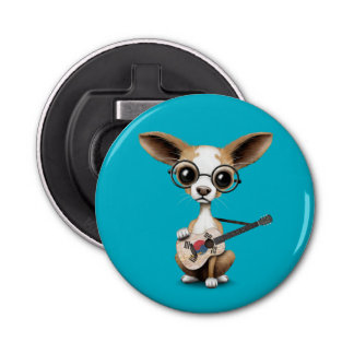 Chihuahua Puppy Dog Playing South Korean Guitar Button Bottle Opener