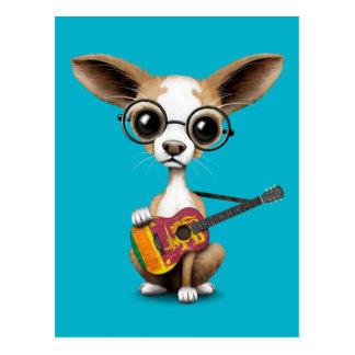 Chihuahua Puppy Dog Playing Sri Lanka Flag Guitar Postcard