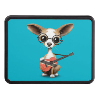 Chihuahua Puppy Playing Trinidad and Tobago Guitar Trailer Hitch Cover