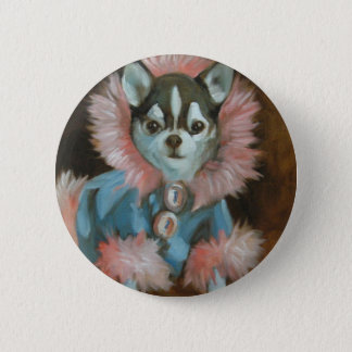 Chihuahua puppy with pink and blue jacket 2 inch round button