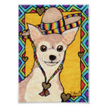 Chihuahua & Rainbow Sombrero Mini Mexican Folk Art Poster