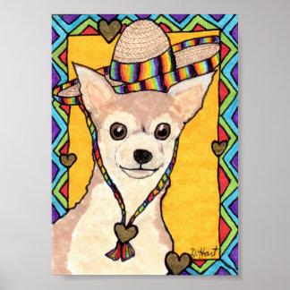 Chihuahua & Rainbow Sombrero Mini Mexican Folk Art Poster