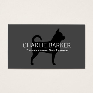 Chihuahua Silhouette Black on Grey Business Card