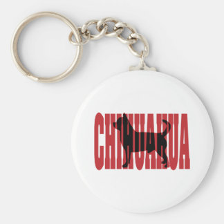 Chihuahua silhouette basic round button keychain