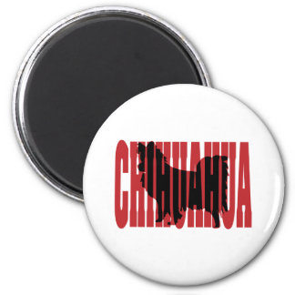 Chihuahua silhouette, long coat 2 inch round magnet