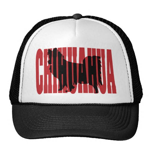 Chihuahua silhouette, long coat trucker hats