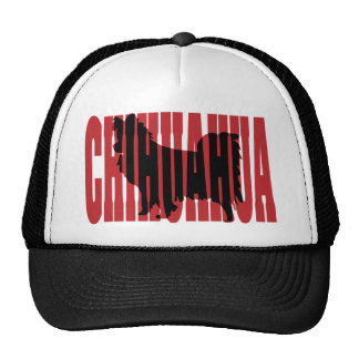Chihuahua silhouette, long coat trucker hat