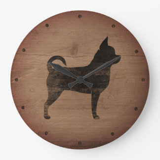 Chihuahua Silhouette Rustic Style Large Clock