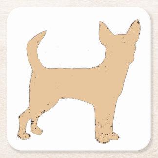 Chihuahua silo color square paper coaster