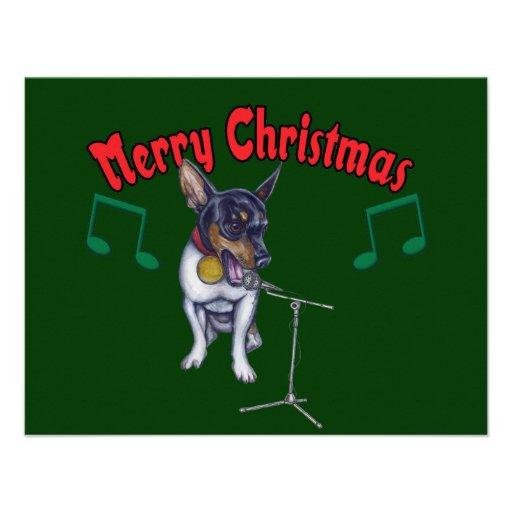 Chihuahua Sings Merry Christmas Custom Invites
