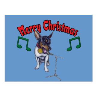 Chihuahua Sings Merry Christmas Postcard