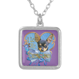 Chihuahua  Sterling Silver Necklace in Blue Heart