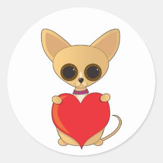Chihuahua Valentine Round Sticker