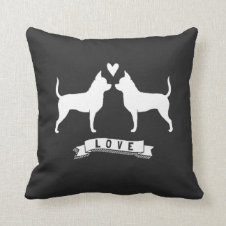 Chihuahuas Love - Dog Silhouettes w/ Heart Pillow