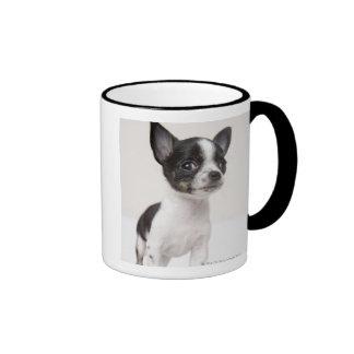 Chihuhua puppy standing on white fabric coffee mugs