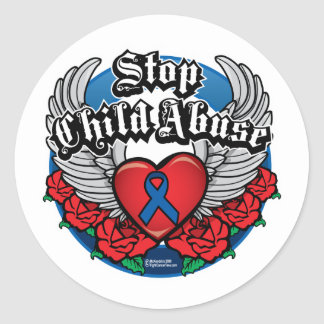 Child Abuse Biker Wings Classic Round Sticker