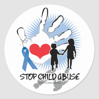 Child Abuse Handprint Round Sticker