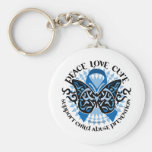 Child Abuse Prevention Butterfly Tribal Key Chain
