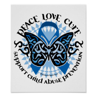 Child Abuse Prevention Butterfly Tribal Poster