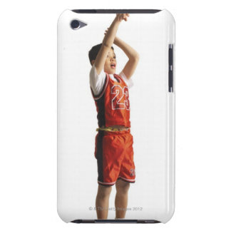 child african american male basketball player in iPod touch cover