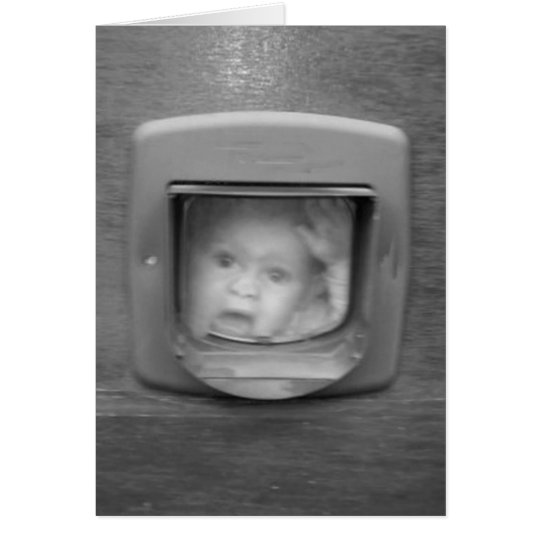 Child and a Cat Flap Greeting Card