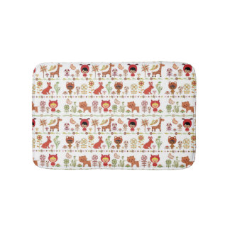 Child and Animals Pattern Bath Mat