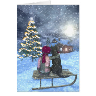 Child and Dog Watching for Santa Christmas Card