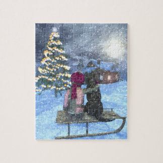 Child and Dog Watching for Santa Puzzle