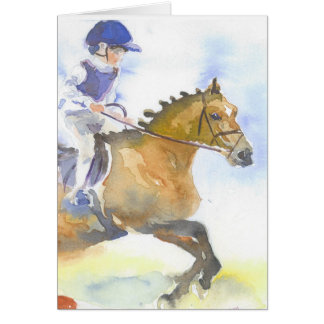 Child and pony jumping card