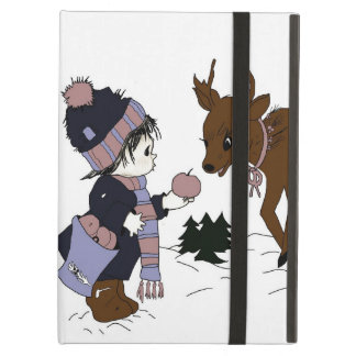 child and reindeer iPad folio cases