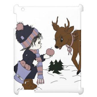 child and reindeer iPad case