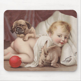 Child at play with pugs mouse pad