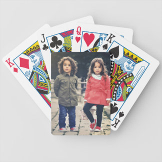 child bicycle playing cards