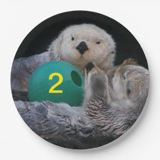 Child Birthday Sea Otters Photo 9 Inch Paper Plate