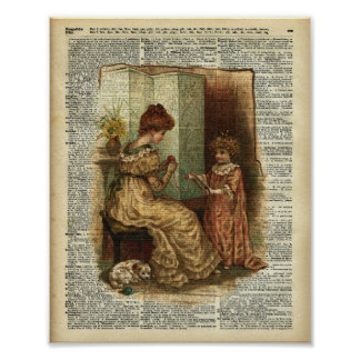 Child Book crocheting Illustration Poster