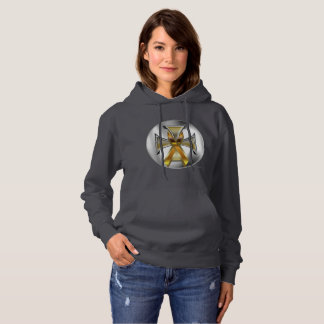 Child Cancer Iron Cross Ladies Hoodie
