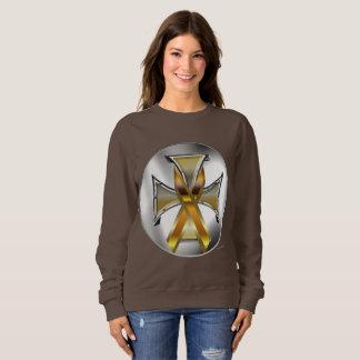 Child Cancer Iron Cross Ladies Sweatshirt