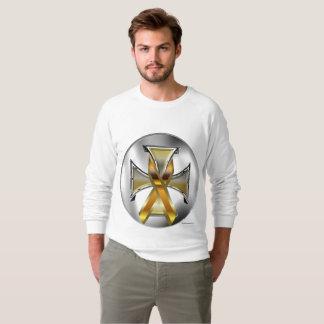 Child Cancer Iron Cross Men's Raglan Sweatshirt