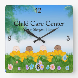 Child Care Baby Flowers Wall Clock