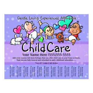 Child Care.Babysitting.Day Care.Custom text/color Full Color Flyer