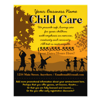 Child Care Day Care Babysitting Summer Camp 4x5 Full Color Flyer