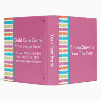 """Child Care Pretty Lines and Dots 1"""" Binder"""