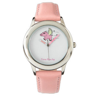 Child clock Flying Pig pink one Wrist Watches