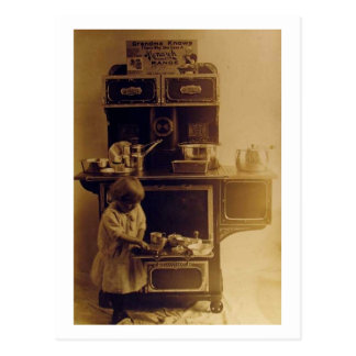 Child Cooking Old Fashioned Stove Vintage Postcard