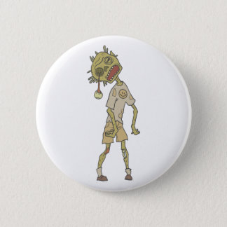 Child Creepy Zombie With Rotting Flesh Outlined 2 Inch Round Button