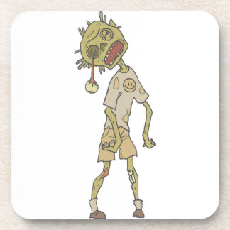 Child Creepy Zombie With Rotting Flesh Outlined Coaster