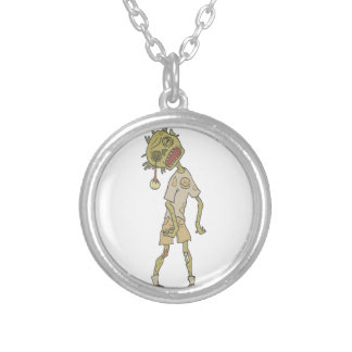 Child Creepy Zombie With Rotting Flesh Outlined Silver Plated Necklace
