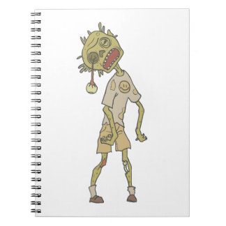 Child Creepy Zombie With Rotting Flesh Outlined Spiral Notebook