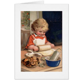 Child doing cooking at Christmas Card